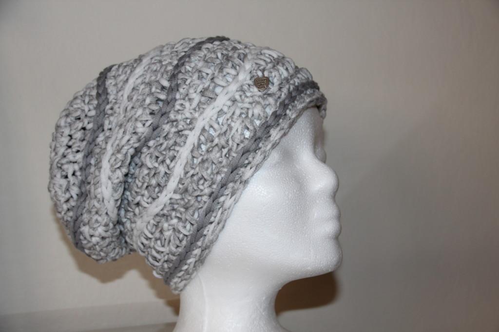 weiß grau metallic Mütze Wave